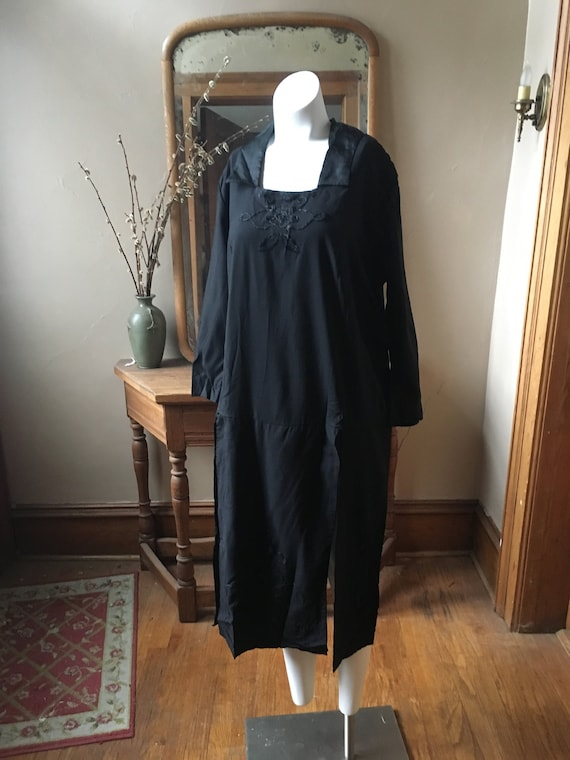 Vintage Antique Black Square Dress with Panel Skir