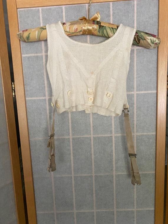 Vintage antique kids underwear shirt with garters - image 8