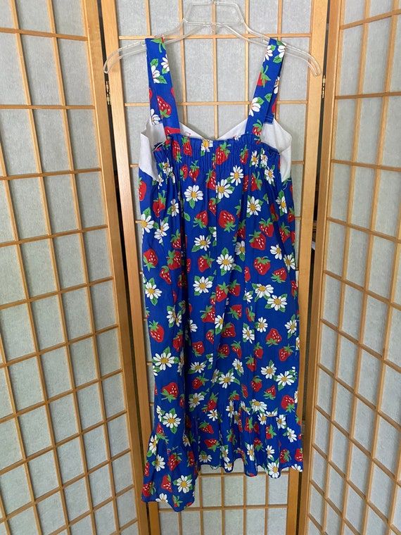 Vintage 1980's blue sun dress with strawberries - image 4