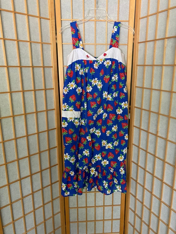 Vintage 1980's blue sun dress with strawberries - image 1