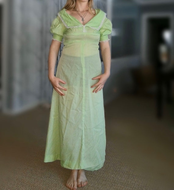 Vintage 1970's Lime Green Semi Sheer Cortln Maxi D