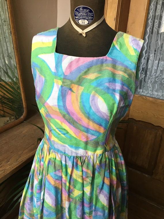 Vintage 1950's Rainbow Embossed Day Dress