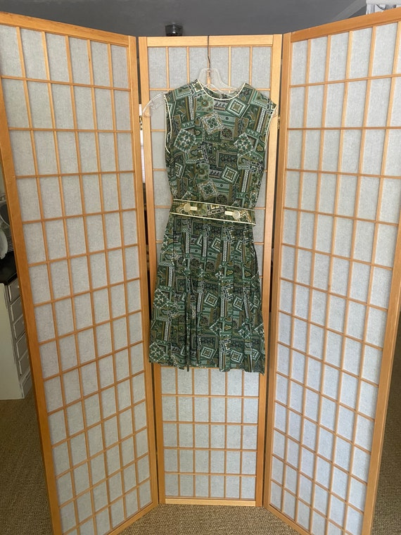 Vintage 1950's Green Day dress with matching belt