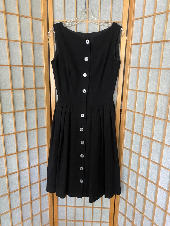 Vintage 1950's Black Wool Button Up Dress