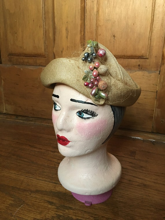 Vintage Beige Straw Hat with Colorful Fruit Hat