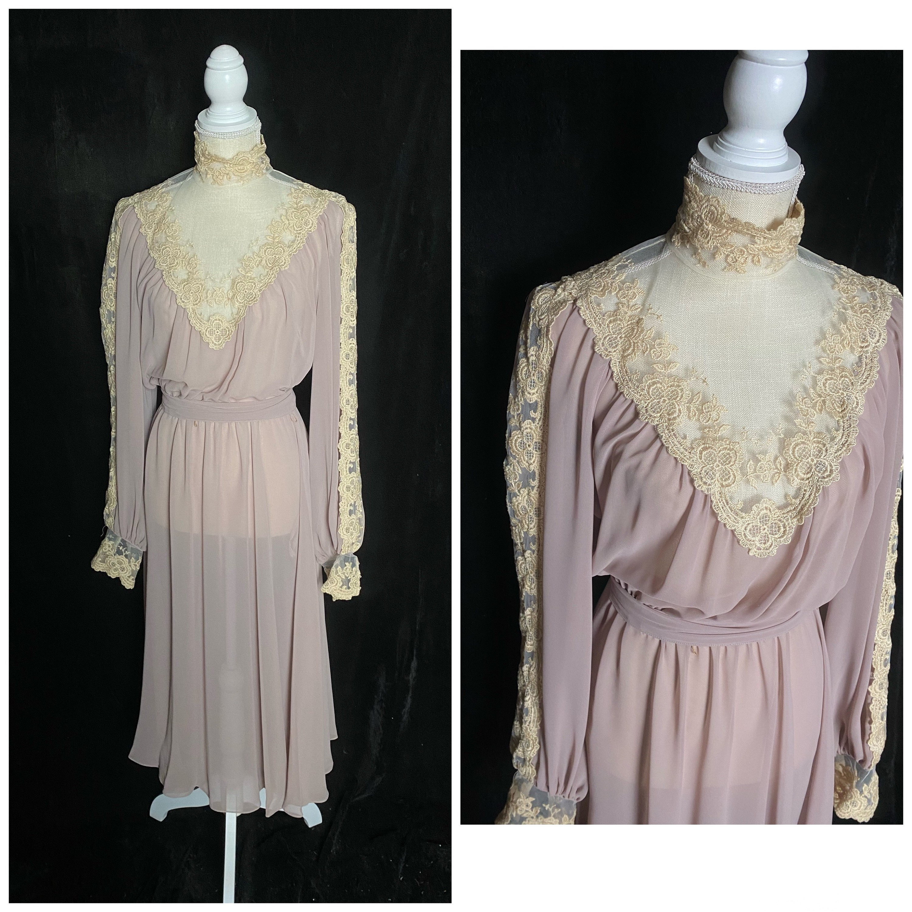 80s Dresses | Casual to Party Dresses Vintage 1980s Sheer Purple Long Sleeve Bridesmaid Dress With High Lace Neckline, Size Small $0.00 AT vintagedancer.com