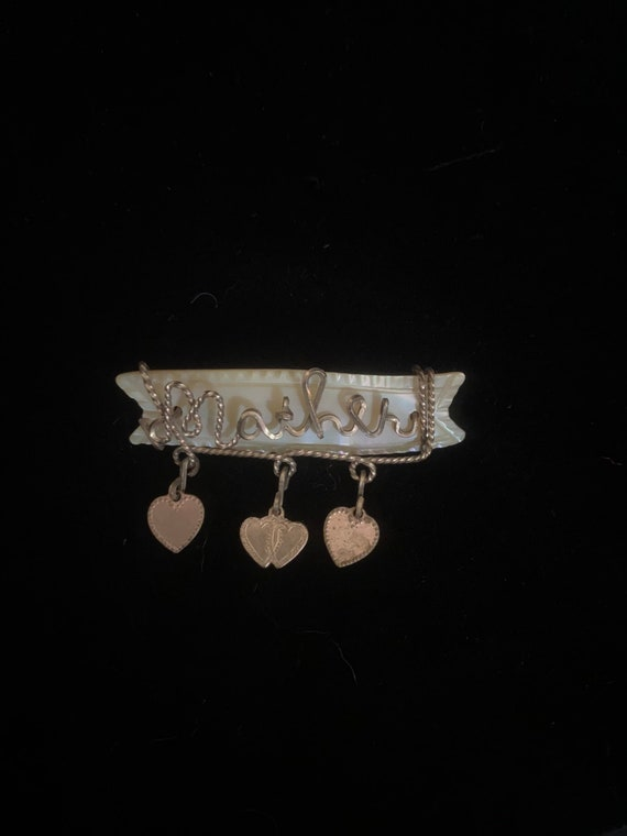 Vintage antique carved shell brooch with wire Moth