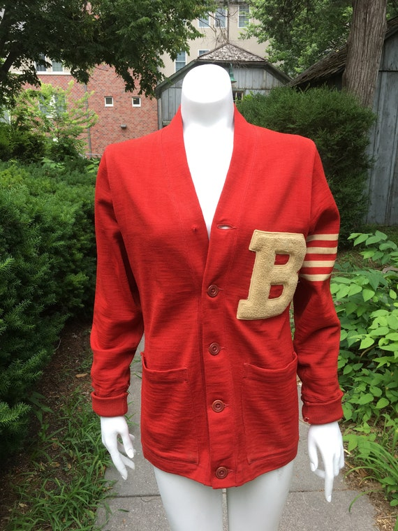 Vintage 1930's/40's Red Wool Letterman Sweater