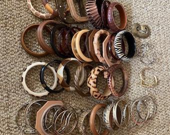 Vintage safari Africa animal print bangle bracelet lot