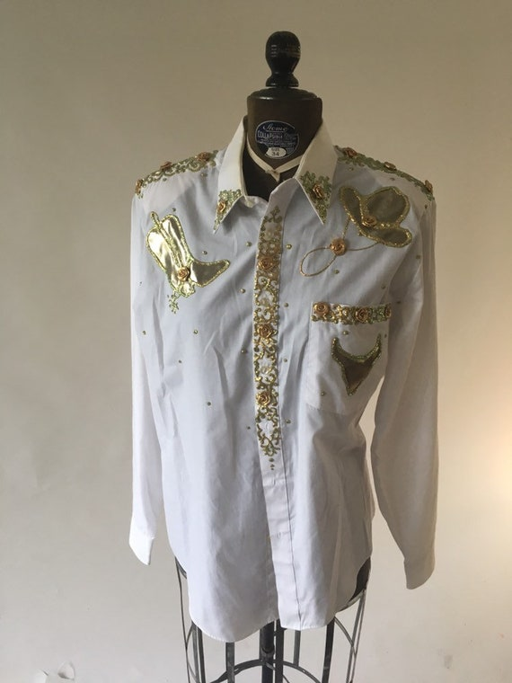 Vintage 1980's White Long Sleeve Gold Hand Painted