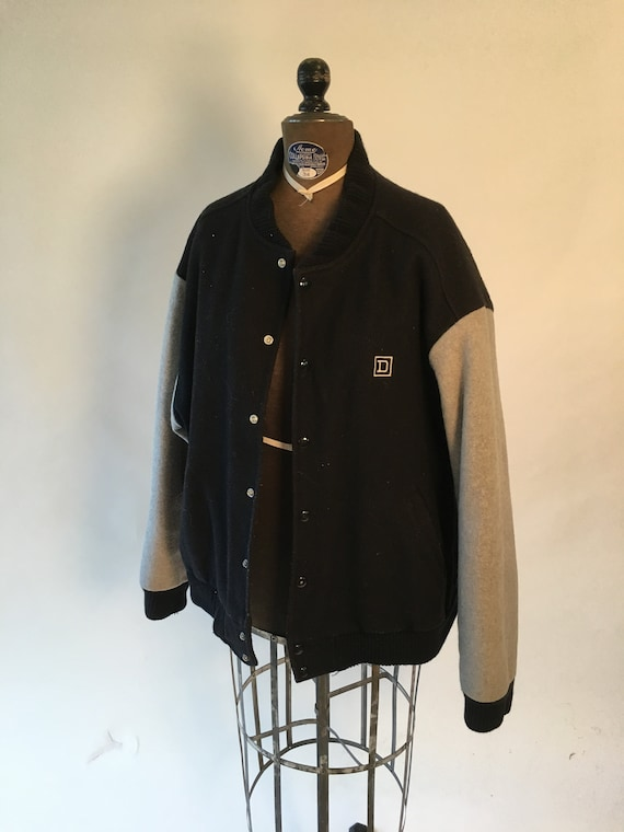 Vintage 1980's Black and Gray Bomber Jacket Sports
