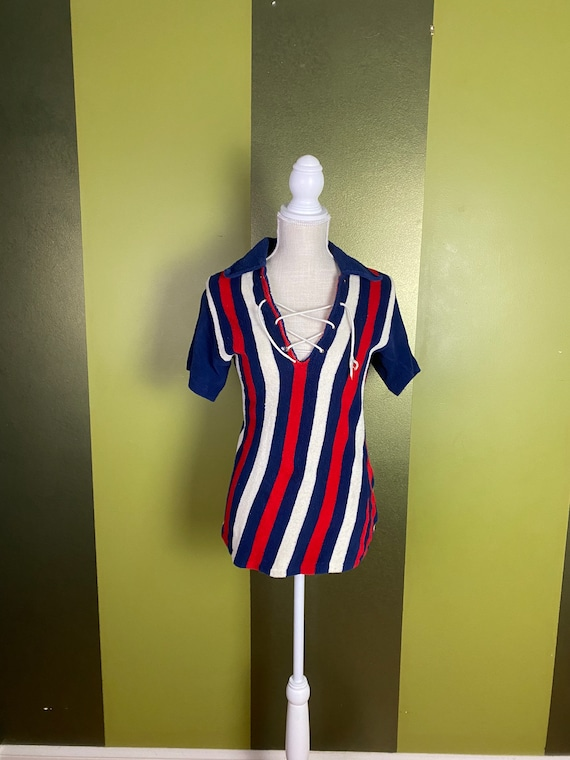 Vintage 1960's red, white and blue stripe terryclo