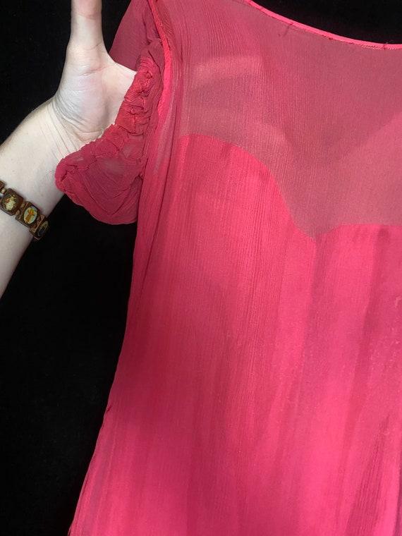 Vintage 1930's hot pink silk sheer chiffon dress … - image 8