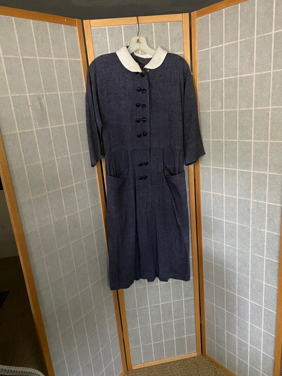 Vintage 1950's blue button pair dress with white c