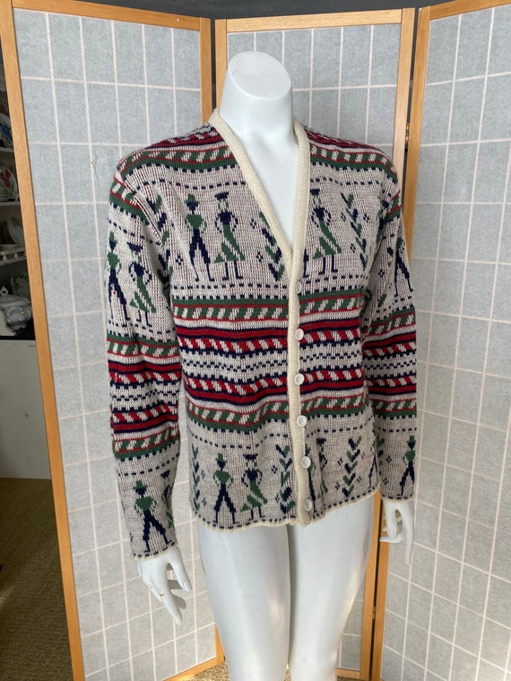 Vintage 1950's 1960's novelty knit cardigan sweate