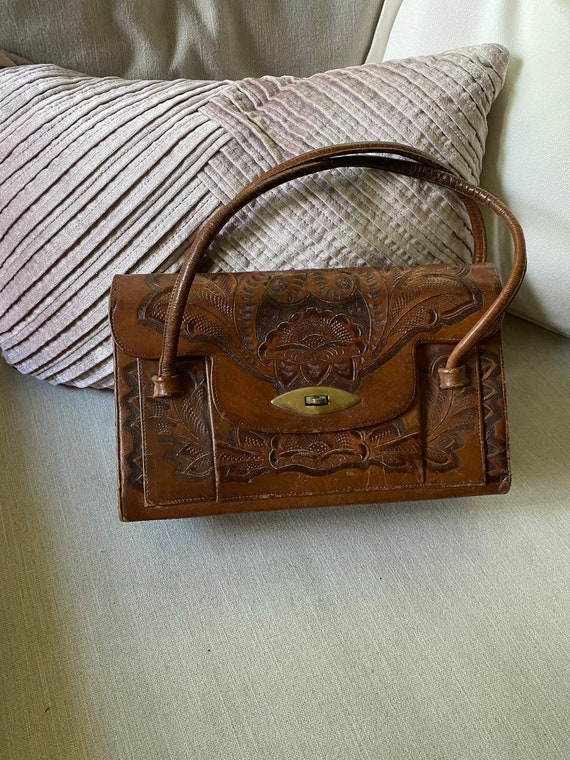 Vintage 1970's Tooled Leather Handbag