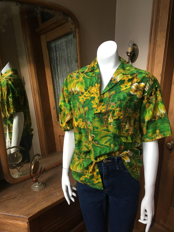 1970s Men's Shirt Styles – Vintage 70s Shirts for Guys Vintage Hawaiian Button Down Shirt $54.85 AT vintagedancer.com