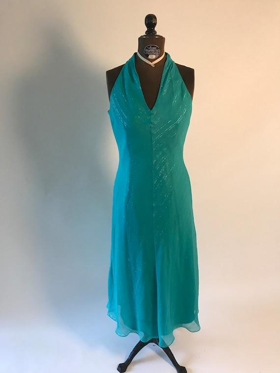 Vintage 1980s turquoise dress with metallic thread