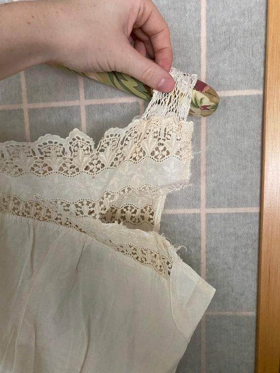 Vintage antique white cotton petticoat dress, 190… - image 3