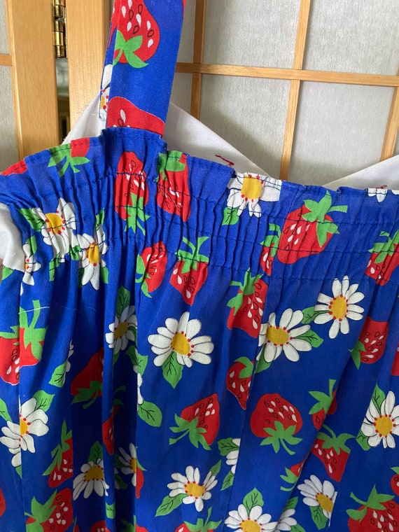 Vintage 1980's blue sun dress with strawberries - image 5