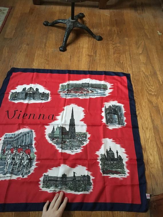 Vintage Vienna Red Souvenir Square Scarf - image 2