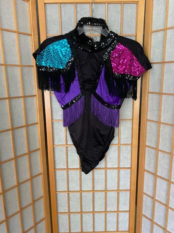 Vintage 1980's black fringe sequin dance costume l