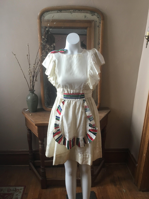 Vintage Aprons, Retro Aprons, Old Fashioned Aprons & Patterns Vintage 1950s White Ruffle Jumper Dress With Apron, Size Xxs $52.85 AT vintagedancer.com