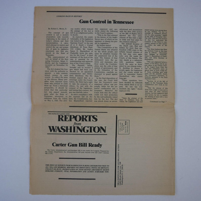 Vintage 1977 NRA Institute for Legislative Action \u201cReports from Washington\u201d