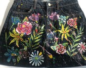 Painted Jeans Skirt US size XS - original handpainted artwork