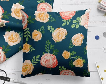 Vintage pillow with roses fabric for mum