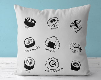 Japanese style pillow with sushi