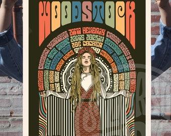 Woodstock Festival Poster 1969 Art Print  Colour Version - Music - Illustration - Unofficial Fan Art Print