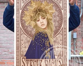 Stevie Nicks Poster Unofficial Fan Art Mucha Art Nouveau