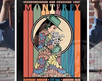 Monterey International Pop Festival Gig Poster 1967  - Music - Sixties - Illustration - Art Print - Vintage - Hippie