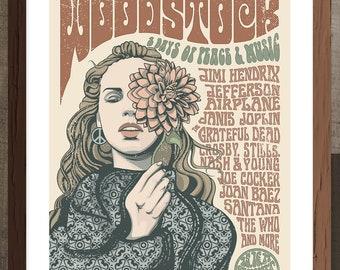 Woodstock 1969 Festival Gig Poster  - Music - Illustration - Art Print - Vintage - Hippie