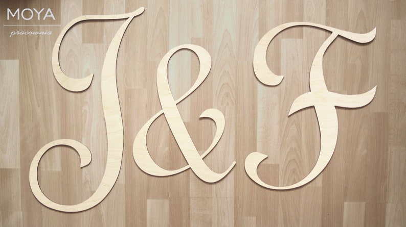3 In 1 Three Letters Initials Made Of Wood 60 Cm Raw