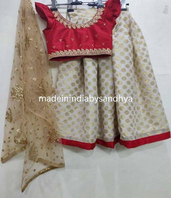 Kids lehnga choli dupatta Indian designer ethnic girl kids festival wear gold blue velvet blouse dress custom made to measure lengha chunni