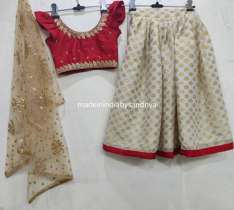 Kids lehnga choli dupatta Indian designer ethnic girl kids festival party wear gold maroon blouse dress custom made to measure lengha chunni