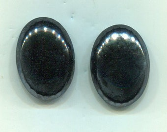 2 Bohemian structure cabochon 25 x 18 mm silver