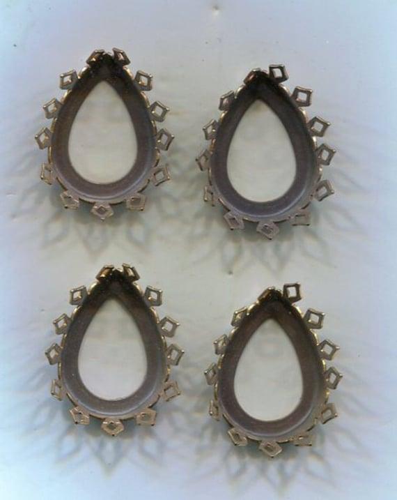 4 Bohemian Chaton sockets copper 22 x 16 mm