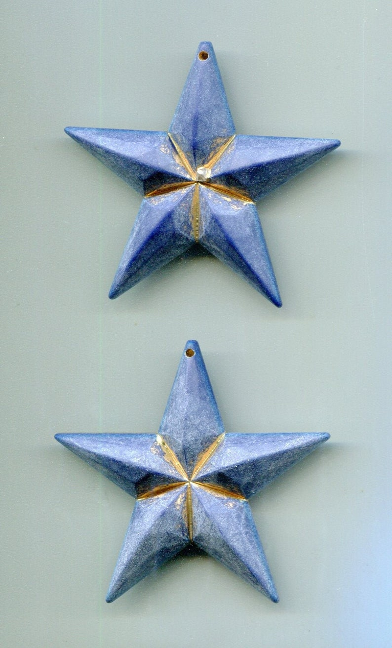 2 German 80s resin pendant Blue Star 55 mm