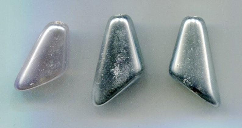 3 Bohemian glass beads silver 20 x 10 mm