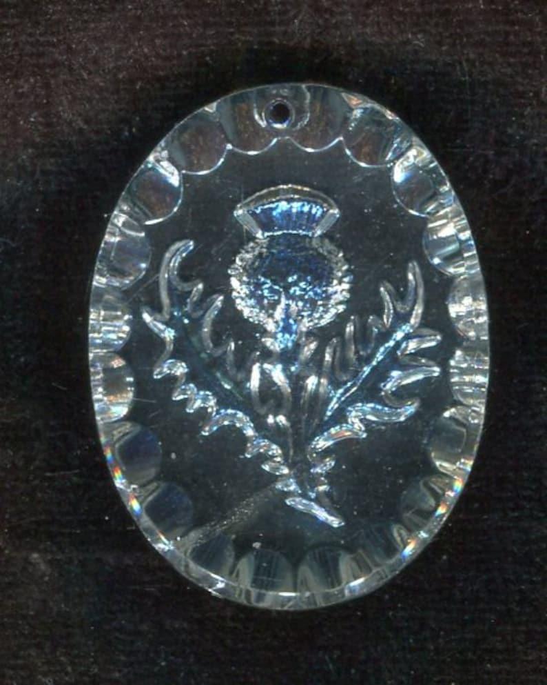 1 Bohemian costumes pendant thistle crystal AB 34 x 26 mm
