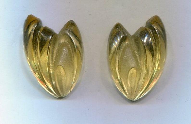 2 Bohemian cabochon ornamental stones flower yellow relinks 22 x 15 mm