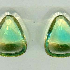 2 Bohemian faceted chaton green yellow 30 x 22 mm