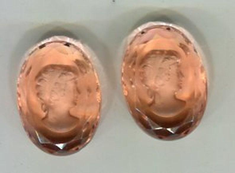2 Bohemian Zierstein Cabochon-Gem Pink 25 x 18 mm