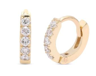 1.5mm Wire 30mm Snap Post Diamond Cut Textured Hoop Earrings 14k Yellow Gold Classic Hoop Earrings 14K Gold Hoop Earrings Hollow