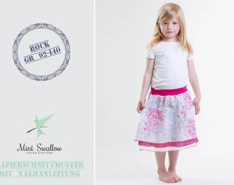 Paper cut pattern: Layered skirt with ribbed cuffs for girls in sizes 92-140