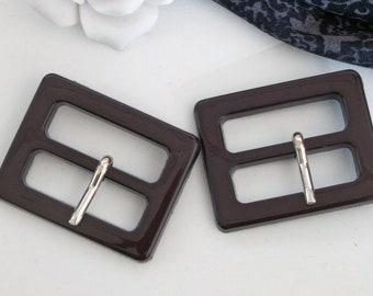 2 buckles, 30 mm, black-brown, belt buckles, vintage buckles, plastic buckles, vintage belt buckles