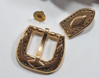 1 belt buckle 15 mm, buckle, gold, small buckle, decorative rivet, 2nd piece, vintage, buckle
